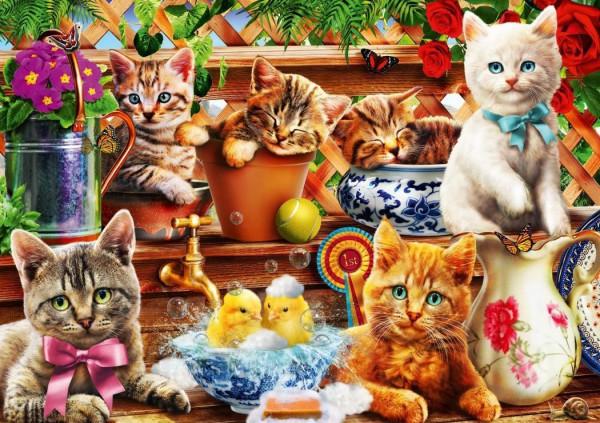 BLUEBIRD, 70241-P, 3663384702419, PUZZLE ANIMALI BLUEBIRD GATTI KITTENS IN THE POTTING SHED 1000 PZ